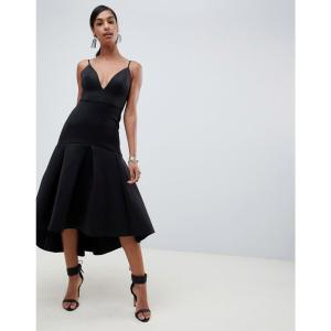 エイソス ASOS DESIGN レディース ワンピース ワンピース・ドレス Sweetheart midi dress with pephem Black fermart
