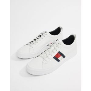 トミー ヒルフィガー Tommy Hilfiger メンズ スニーカー シューズ・靴 flag detail leather sneaker in white white|fermart