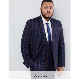 ハリー ブラウン Harry Brown メンズ スーツ・ジャケット アウター Plus navy and burgundy check slim fit suit jacket ネイビー fermart