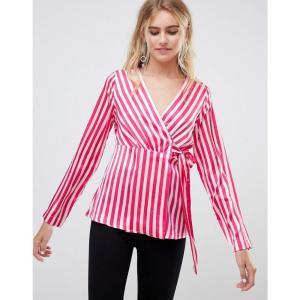 ピーシーズ Pieces レディース ブラウス・シャツ トップス Disha stripe wrap blouse Pink yarrow|fermart