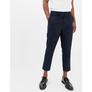 ノア Noak メンズ クロップド ボトムス・パンツ drop crotch tapered cropped smart trouser in navy Navy|fermart
