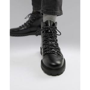 セレクテッド オム Selected Homme メンズ シューズ・靴 ハイキング・登山 leather hiker boots Black|fermart