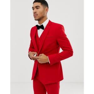 エイソス ASOS DESIGN メンズ スーツ・ジャケット アウター super skinny suit jacket in red Red|fermart