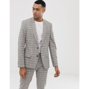 エイソス ASOS DESIGN メンズ スーツ・ジャケット アウター skinny suit jacket in stone check Stone fermart