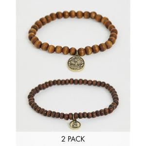 6e469b9ef5c7 アイコン Icon Brand メンズ ブレスレット ジュエリー・アクセサリー brown beaded bracelet in 2 pack  Brown