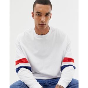エイソス ASOS DESIGN メンズ 長袖Tシャツ トップス oversized longline long sleeve t-shirt with contrast mesh sleeve stripe in white White|fermart