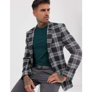 エイソス ASOS DESIGN メンズ スーツ・ジャケット アウター skinny blazer in grey check グレー fermart