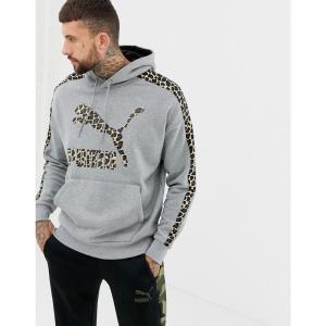 プーマ Puma メンズ パーカー トップス pullover hoodie with cheetah side stripe in grey Grey fermart