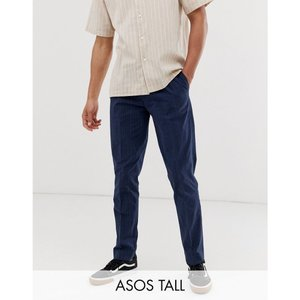 エイソス ASOS DESIGN メンズ クロップド ボトムス・パンツ Tall slim crop smart trouser in blue seersucker check Navy|fermart