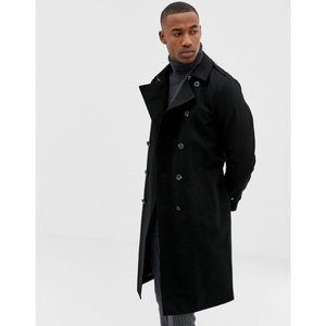 エイソス ASOS DESIGN メンズ トレンチコート アウター shower resistant longline trench coat with belt in black Black|fermart