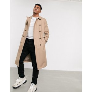 エイソス ASOS DESIGN メンズ トレンチコート アウター shower resistant longline trench coat with belt in stone Stone|fermart