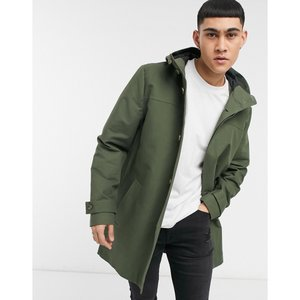 エイソス ASOS DESIGN メンズ トレンチコート アウター hooded trench coat with shower resistance in green Green|fermart