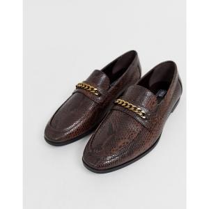 エイソス ASOS DESIGN メンズ ローファー シューズ・靴 loafers in faux leather with snake effect Brown fermart