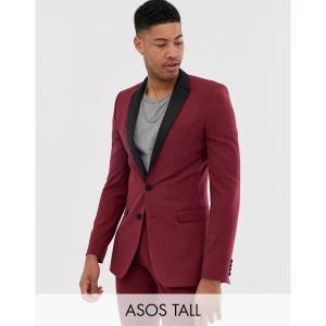 エイソス ASOS DESIGN メンズ スーツ・ジャケット タキシード アウター Tall super skinny tuxedo suit jacket in burgundy バーガンディ fermart
