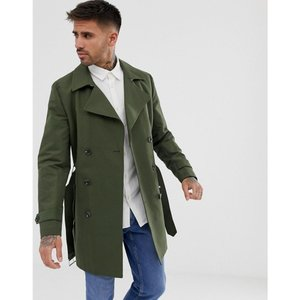 エイソス ASOS DESIGN メンズ トレンチコート アウター shower resistant double breasted trench in khaki カーキ|fermart