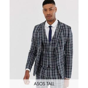 エイソス ASOS DESIGN メンズ スーツ・ジャケット アウター Tall skinny suit jacket in navy tartan check Navy fermart