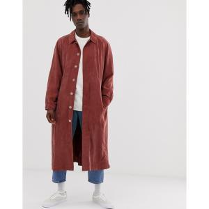 エイソス ASOS WHITE メンズ トレンチコート アウター long trench coat in washed rust ラスティック|fermart