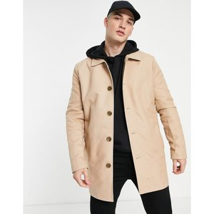 エイソス ASOS DESIGN メンズ トレンチコート アウター shower resistant single breasted trench in stone Stone|fermart