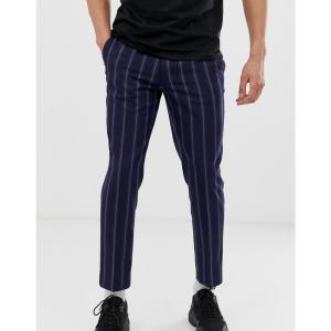 エイソス ASOS DESIGN メンズ クロップド ボトムス・パンツ slim crop trousers in navy with stripe Navy|fermart