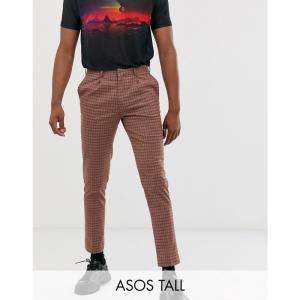 エイソス ASOS DESIGN メンズ クロップド ボトムス・パンツ Tall skinny crop smart trousers in brown check with cream sateen rope piping detail Brown|fermart