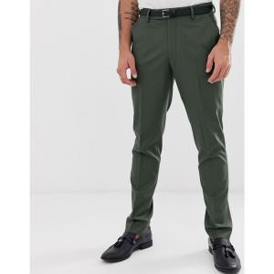 エイソス ASOS DESIGN メンズ スラックス ボトムス・パンツ skinny suit trousers in khaki グリーン|fermart