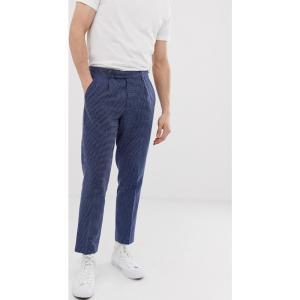 エイソス ASOS DESIGN メンズ クロップド ボトムス・パンツ slim crop smart trousers in indigo texture ネイビー|fermart