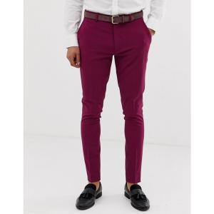 エイソス ASOS DESIGN メンズ スラックス ボトムス・パンツ super skinny smart trousers in magenta マゼンタ|fermart