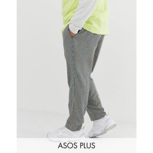 エイソス ASOS DESIGN メンズ クロップド ボトムス・パンツ Plus slim crop smart trousers in grey micro check with blue stripe Grey|fermart