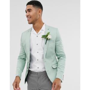 エイソス ASOS DESIGN メンズ スーツ・ジャケット アウター wedding super skinny cotton blazer in mint green ミントグリーン fermart