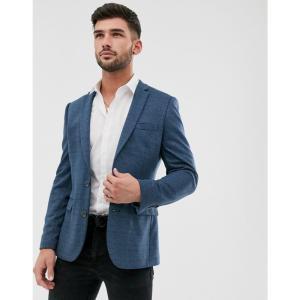 エイソス ASOS DESIGN メンズ スーツ・ジャケット アウター skinny jersey blazer with fleck in blue ブルー fermart