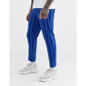 エイソス ASOS DESIGN メンズ クロップド ボトムス・パンツ skinny crop smart trousers in blue stripe ブルー|fermart
