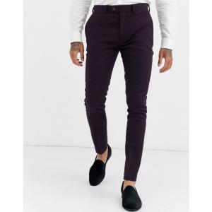 エイソス ASOS DESIGN メンズ スラックス ボトムス・パンツ wedding super skinny suit trousers in wool mix twill in burgundy バーガンディ|fermart