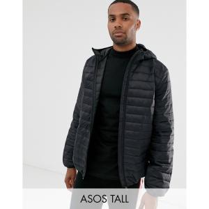 エイソス ASOS DESIGN メンズ ダウン・中綿ジャケット アウター Asos Design Tall Lightweight Puffer Jacket With Hood In Black ブラック|fermart