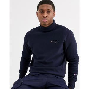 チャンピオン Champion メンズ スウェット・トレーナー トップス Reverse Weave small script high neck sweatshirt in navy ネイビー fermart