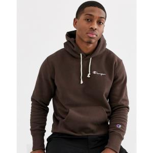 チャンピオン Champion メンズ スウェット・トレーナー トップス Reverse Weave small script hooded sweatshirt in brown ブラウン fermart