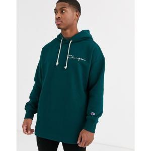 チャンピオン Champion メンズ スウェット・トレーナー トップス Reverse Weave oversized 100 year logo hooded sweatshirt in teal ブルー fermart