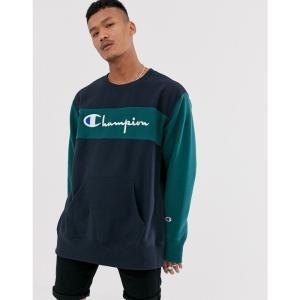 チャンピオン Champion メンズ スウェット・トレーナー トップス Reverse Weave color block crewneck sweatshirt in navy/teal ネイビー fermart