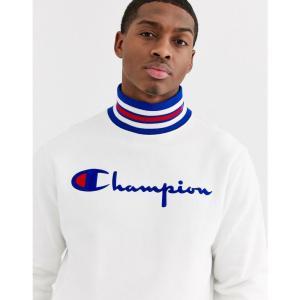チャンピオン Champion メンズ スウェット・トレーナー トップス Reverse Weave big script high neck sweatshirt in white ホワイト fermart