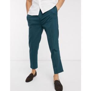 エイソス ASOS DESIGN メンズ クロップド ボトムス・パンツ tapered crop smart trousers in pine green グリーン|fermart