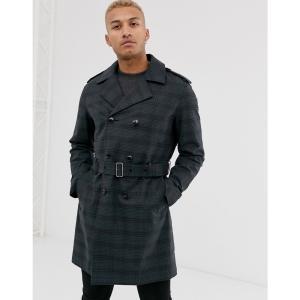 エイソス ASOS DESIGN メンズ トレンチコート アウター double breasted trench coat in navy check ネイビー|fermart
