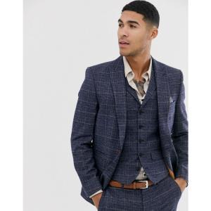ハリー ブラウン Harry Brown メンズ スーツ・ジャケット アウター slim fit textured check navy suit jacket ネイビー fermart