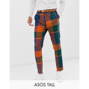 エイソス ASOS DESIGN メンズ クロップド ボトムス・パンツ Tall tapered crop smart trousers in oversized check in blue Blue|fermart