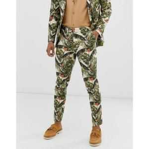 エイソス ASOS DESIGN メンズ スラックス ボトムス・パンツ skinny suit trousers in cotton with leaf print グリーン|fermart