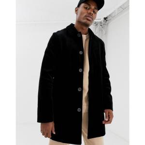 エイソス ASOS DESIGN メンズ トレンチコート アウター single breasted cord trench coat in black ブラック|fermart