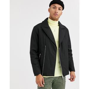 エイソス ASOS DESIGN メンズ ダウン・中綿ジャケット ライダース アウター puffer biker jacket in black ブラック|fermart