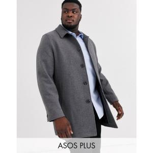 エイソス ASOS DESIGN メンズ トレンチコート アウター Plus wool mix trench coat in light grey グレー|fermart