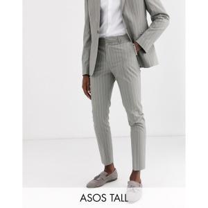エイソス ASOS DESIGN メンズ スラックス ボトムス・パンツ Tall skinny suit trousers in soft grey pinstripe グレー|fermart