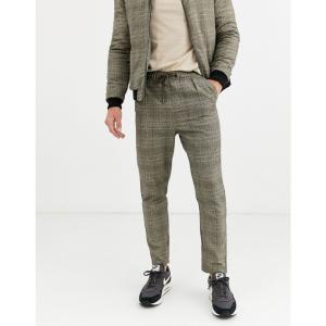 ネイティブユース Native Youth メンズ スキニー・スリム ボトムス・パンツ wicker plaid CO-ORD slim fit trousers ブラウン|fermart