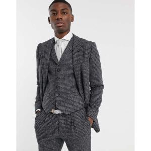 エイソス ASOS DESIGN メンズ スーツ・ジャケット アウター slim suit jacket in blue and grey 100% lambswool tweed グレー fermart