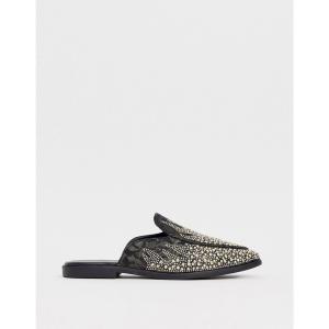 エイソス ASOS DESIGN メンズ ローファー シューズ・靴 loafers in black faux suede with all over jewel encrusted detail ブラック fermart